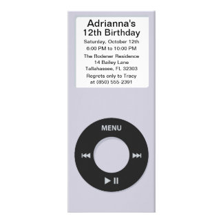 Silver MP3 Player iParty Birthday Party Personalized Announcements
