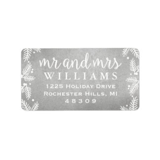 Silver Mr and Mrs   Holiday Address Labels