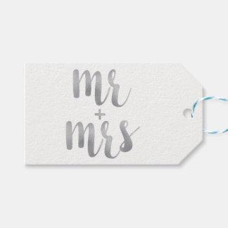Silver Mr. & Mrs. favor tags, foil, horizontal