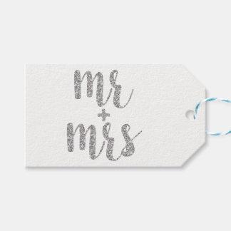 Silver Mr. & Mrs. favor tags, glitter, horizontal