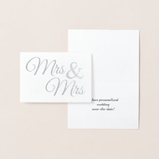 Silver Mr & Mrs Word Art Save the Date Foil Card