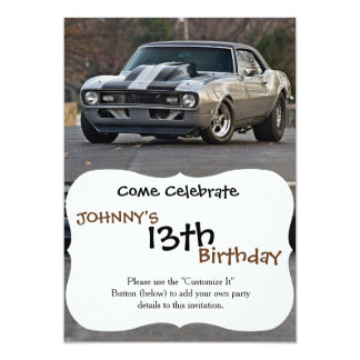 Silver Muscle car 13 Cm X 18 Cm Invitation Card
