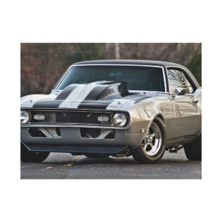 Silver Muscle car Stretched Canvas Print