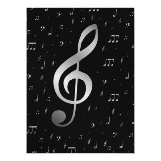 silver music notes 17 cm x 22 cm invitation card