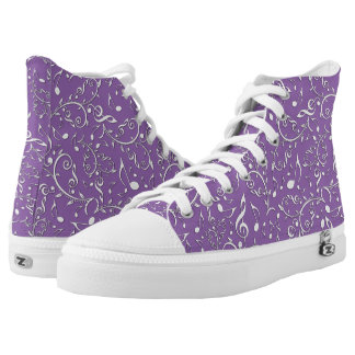 Silver Music Notes Custom Color High Top Shoes Printed Shoes