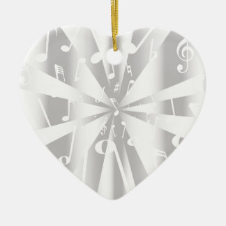 Silver Musical Notes Background Ceramic Heart Decoration
