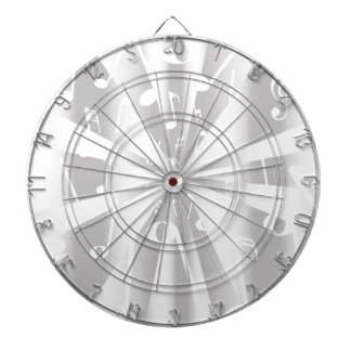 Silver Musical Notes Background Dartboard With Darts