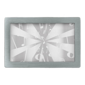 Silver Musical Notes Background Rectangular Belt Buckles