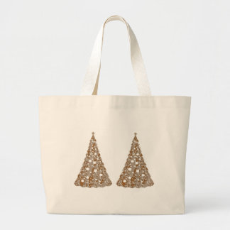 Silver n Gold Engraved LightShow Trees Tote Bags