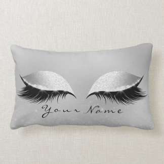 Silver Name Princess Beauty Lashes Glitter Makeup Lumbar Cushion