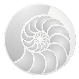 Silver Nautilus Coastal Style Ceramic Knob