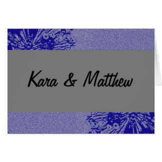 Silver & Navy Blossom Save the Date Greeting Card