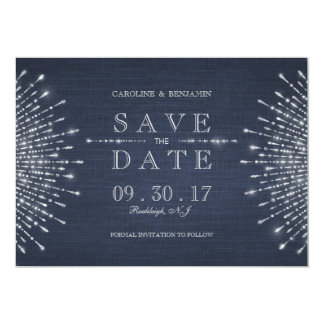 Silver navy deco vintage wedding save the date card