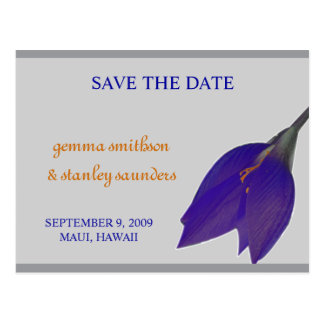 Silver & Navy Flower Save the Date Postcard