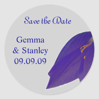 Silver & Navy Flower Save the Date Sticker
