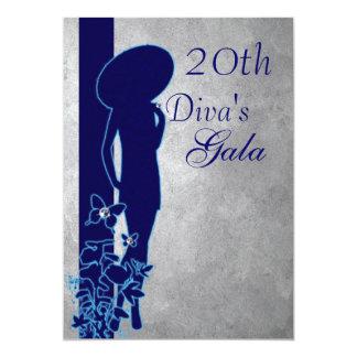 Silver & Navy Gala 13 Cm X 18 Cm Invitation Card