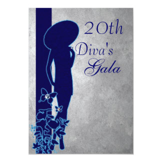 Silver & Navy Gala 5x7 Paper Invitation Card
