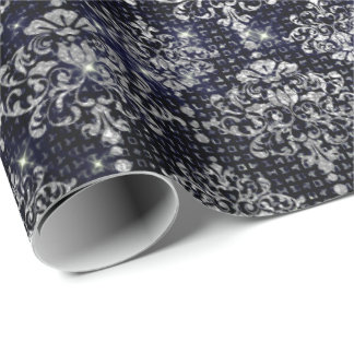 Silver Navy Royal Damask Urban Shimmering Luxury Wrapping Paper