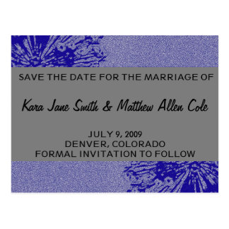 Silver & Navy Save the Date Postcard