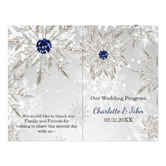 silver navy snowflakes winter wedding program flyer