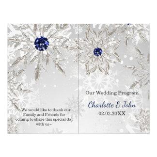 silver navy snowflakes winter wedding program flyer