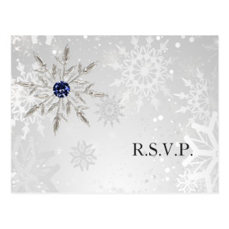 silver navy snowflakes winter wedding rsvp postcard