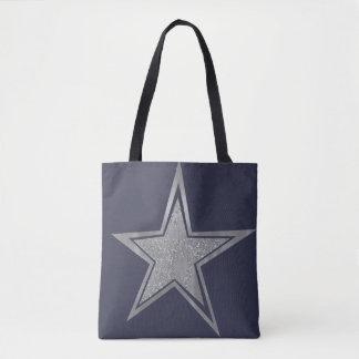 Silver Navy Star Tote Bag