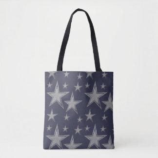 Silver Navy Stars Tote Bag