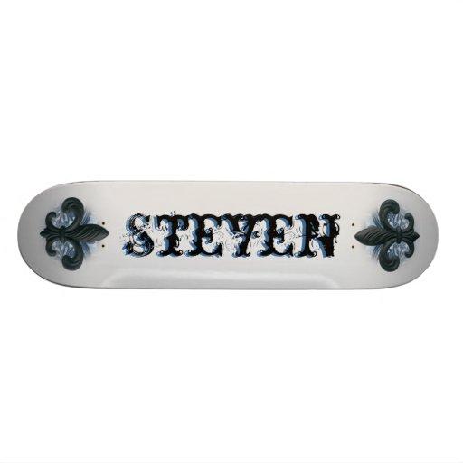 """""""silver/navy theme"""" iron fleur de lis SKATEBOARD"""