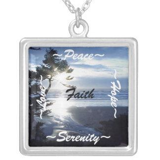Silver Necklace Peace, Hope, Serenity, Faith