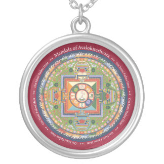 SILVER NECKLACE & PENDANT Mandala of Chenrezig