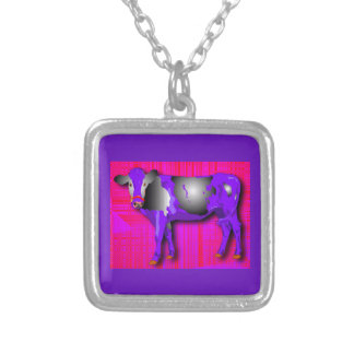 Silver necklace with purple, pink, red, cow design