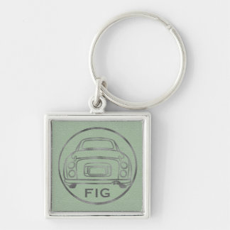 Silver Nissan Figaro-Green Leather with Initials Key Ring