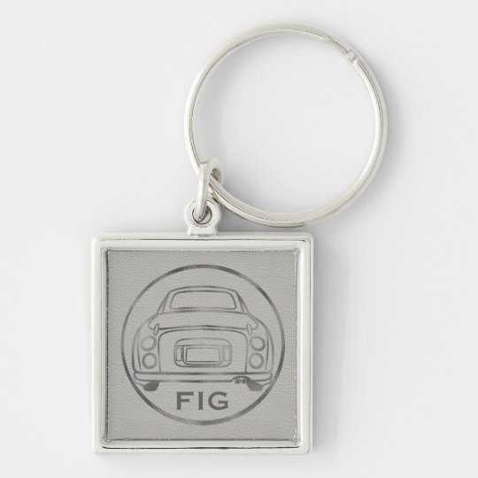 Silver Nissan Figaro-Grey Leather w/ Initials Silver-Colored Square Key Ring