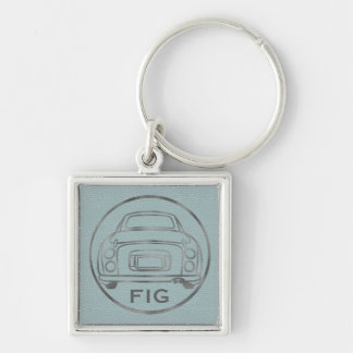 Silver Nissan Figaro-Pale Blue Leather w/ Initials Key Ring