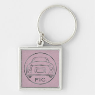 Silver Nissan Figaro-Pink Leather Keyring