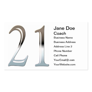 Silver Number 21 Pack Of Standard Business Cards