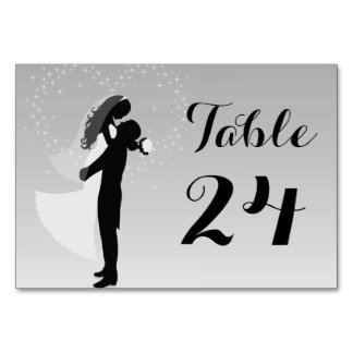 Silver Ombre Silhouette Bride And Groom Table Card