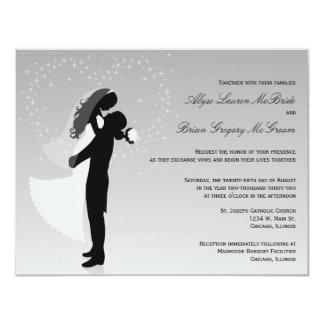 Silver Ombre Silhouette Formal Wedding Invite