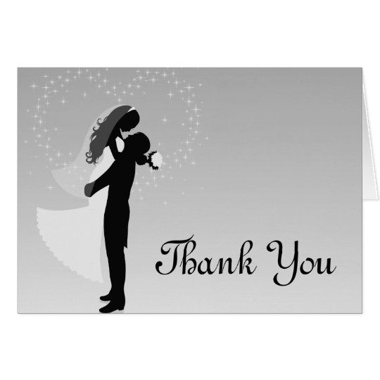 Silver Ombre Silhouette Thank You Card