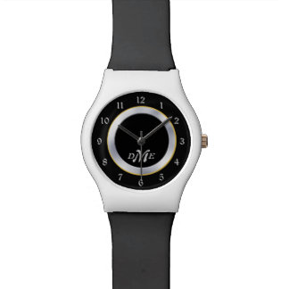 Silver on Black Monogram Watches