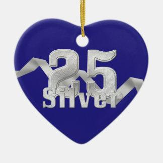 Silver on Blue 25th Anniversary Ceramic Heart Decoration