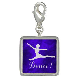 Silver on Blue Dancer Charm Bracelet