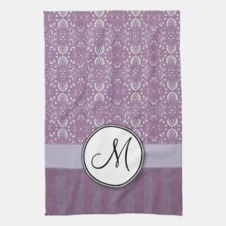 Silver on Lavender Damask with Stripes & Monogram Tea Towel
