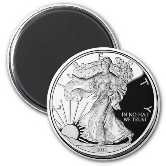 Silver Ounce 6 Cm Round Magnet