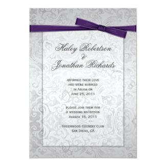 Silver Overlay Purple Ribbon Bow Post Wedding 13 Cm X 18 Cm Invitation Card