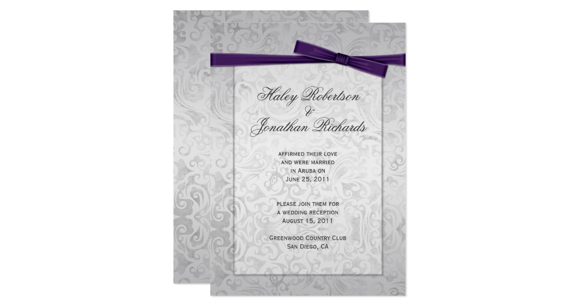 Wedding Invitations With Purple Ribbon: Silver Overlay Purple Ribbon Bow Post Wedding Invitation