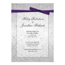 Silver Overlay Purple Ribbon Bow Post Wedding Personalised Invite