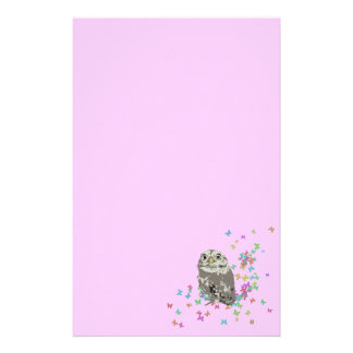 Silver Owl with Butterflies Stationary Stationery