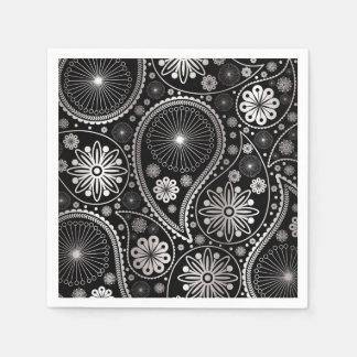 Silver paisley pattern disposable napkin